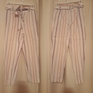 Express striped linen high rise ankle pants